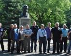 Przy pomniku Ignacego Łukasiewicza.