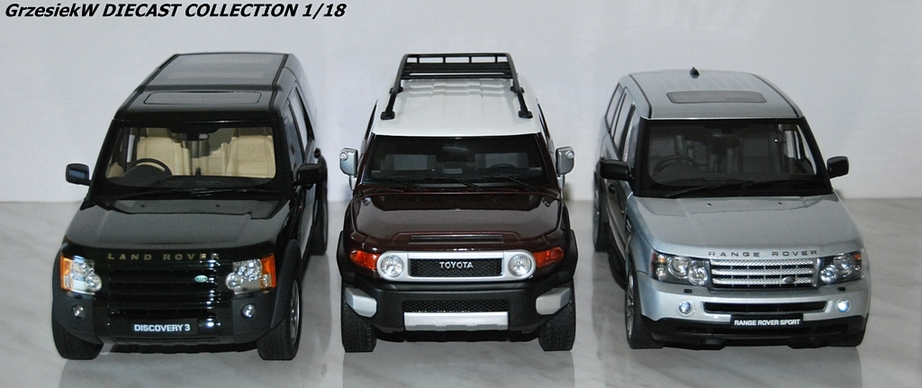 range rover sport vs land rover discovery vs toyota fj cruiser autoart x 3 diecast. Black Bedroom Furniture Sets. Home Design Ideas