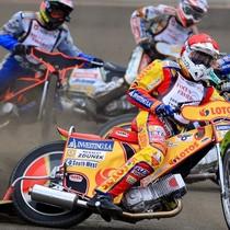 Wyścig I - Tai Woffinden (niebieski), Grzegorz Zengota (biały), Magnus Zetterström (czerwony) i Emil Sajfutdinow (żółty)