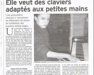 Der erste französische Presseartikel über die Klaviatur-Modifizierung