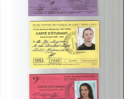 Mes cartes d`étudiante de l`Ecole Normale A.Cortot à Paris