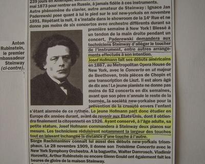Extrait d'un article de presse concernant Paderewski et Hofman.