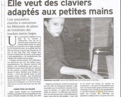 The first French press article on the modification of the keyboard