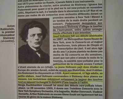 A press clipping concerning Paderewski and Hofman