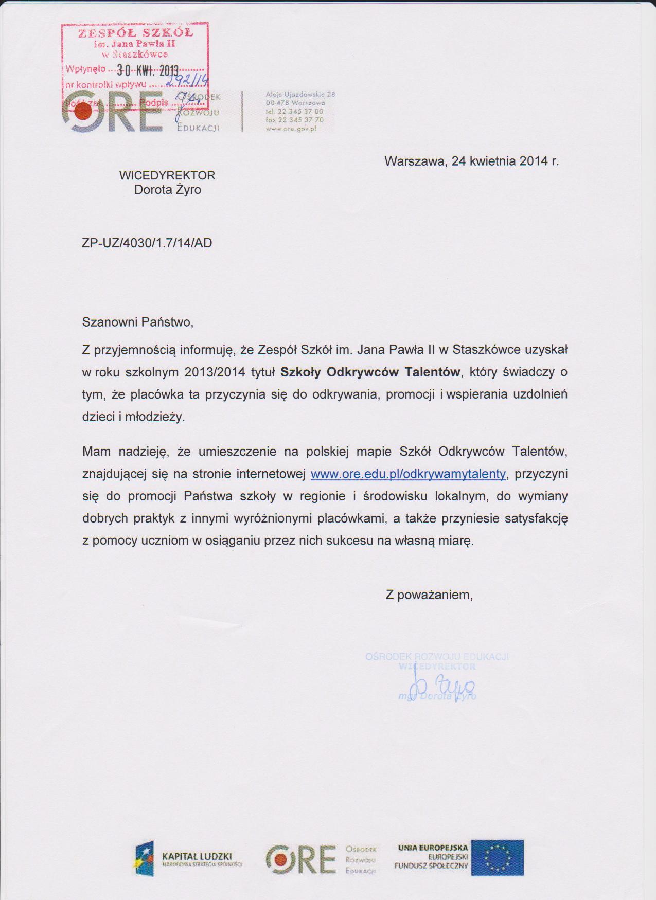 Rok Szkolny 20132014 Zs Sztaszkówka
