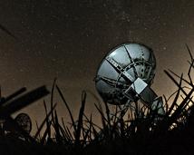 Solar radiotelescope at night. October 2019.
