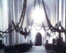 Wnętrze kościoła w Bielsku 1924r., widok na chór- brak organów zamontowanych w 1935r.