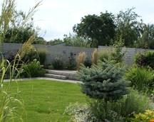 Ogród widziany z tarasu.