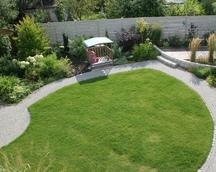 Ścieżka pełni funkcje komunikacyjną oraz odgradza rabaty od trawnika.