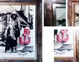 Grafika A4 tusz + własnorecznie wykonana rama wyłożona płątkami srebra i oksydowana/ sprzedane PL