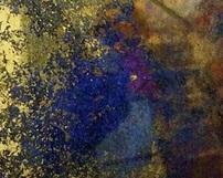 różnokolorowe lustra postarzane - Odcienie złote niebieskie granatowe miedziane z towarzyszącymi przypaleniami.