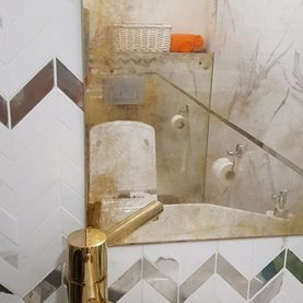 lustro postarzane do łazienki odcienie ciepłe złote - Warszawa Ząbki