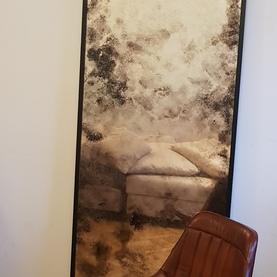 lustro postarzane w czarnej ramie 244x70