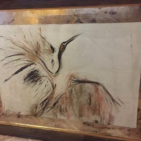 Passe-partout wykonane z lustra postarzanego do grafiki made by K.Szatanek + rama drewniana z wstawką złotą na pulmencie