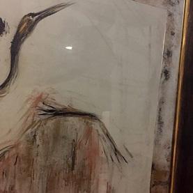 Passe-partout wykonane z lustra postarzanego do grafiki made by K.Szatanek + rama drewniana z wstawką złota na pulmencie