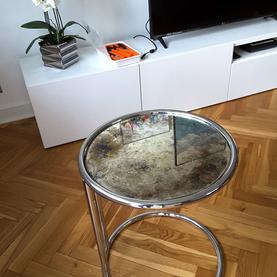 Realizacja 2018 - stolik z lustrem postarzanym odcienie chłodne - Warszawa Żoliborz