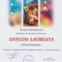 XVII Festiwal Kolęd (2012) dyplom laureata- wyróżnienie