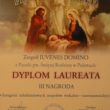 XVIII wojewódzki Festiwal Kolęd (2013) dyplom laureata- III miejsce