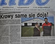 """""""Krowy same się doją"""" artukuł z Gazety ABC"""