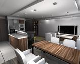 Salon z aneksem kuchennym i jadalnia
