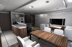 Salon z jadalnią i aneksem kuchennym