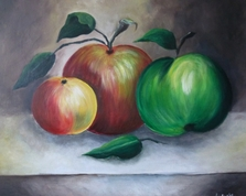 Martwa natura z jabłkami, 50x60, 09.07.2015r.