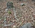 Zdewastowane nagrobki (widoczna połamana kamienna płyta bez tablicy inskrypcyjnej)
