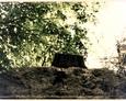 Górna część pomnika z fragmentem ułamanego krzyża