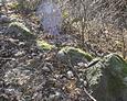 Fragmenty kamiennego ogrodzenia okalającego teren cmentarza