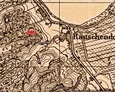 Mapa Messtischblatt z zaznaczoną lokalizacją czymanowskiego cmentarza