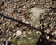 Fragment kamiennej płyty z połamanym kamiennym krzyżem