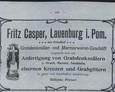 Reklama oferująca usługi Fritza Caspera