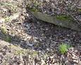 Zapadła mogiła z widoczną kamienną ramą