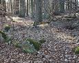 Fragmenty kamiennego wału granicznego cmentarza