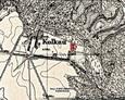 Niemiecka mapa Messtischblatt z obrazem wsi Kolkau (Kolkowo); czerwonym kwadratem zaznaczony ewangelicki cmentarz