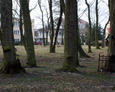 Teren nieistniejącego cmentarza ewangelickiego z widocznymi pozostałościami żeliwnymi