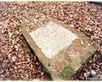 Przewrócony kamienny postument z białą tablicą inskrypcyjną (Oskowo)