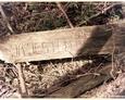 Stilo/Osetnik - deska z wyrytym napisem niegdyś przytwierdzona do drzewa