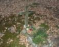 Nagrobek dziecięcy z drewnianym krzyżem