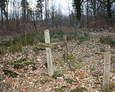 Wiele drewnianych krzyży znajdujących się na początku cmentarza