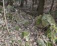 Fragment kamiennego ogrodzenia otaczającego teren cmentarza