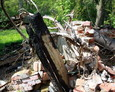 Zgliszcza domu mieszkalnego na Starej Cegielni w Sasinie