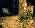 Zachowany fragment żeliwnego ogrodzenia wrośnięty w drzewo