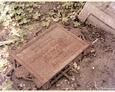 Damnica - cmentarz komunalny (fragment żeliwnego ogrodzenia z tablicą)