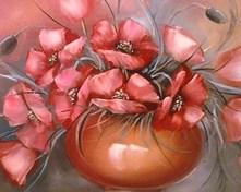 Maki różowe olejny 50x40cm