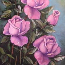 Róże pudrowe olej 50x30cm