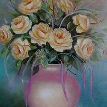 róże kremowe olejny 60x50cm