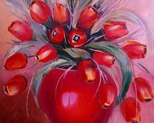 Tulipany czerwone olejny 60x50cm-szpachelka