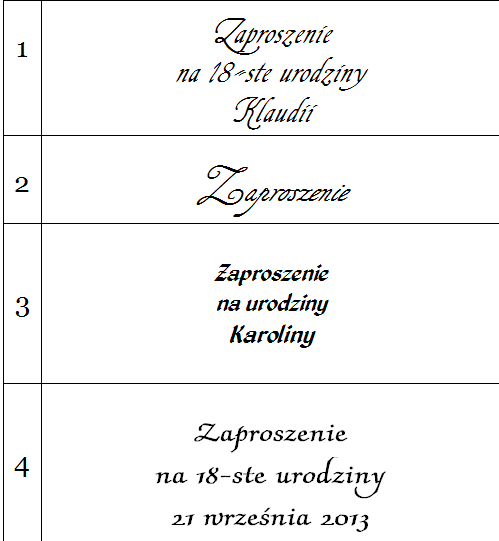 Urodziny Teksty Wierszyki Obrazki Czcionki Zaproszenia
