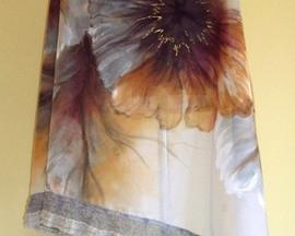 Chusta z bawełny z jedwabiem HIBISKUS SZARY